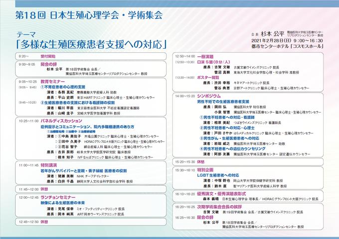 日本生殖心理学会 第18回 学術集会 プログラム